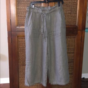 Cloth and Stone Olive Green 💯 Linen Pants S EUC